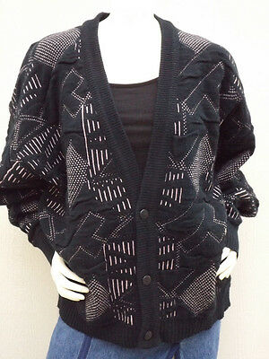 VINTAGE 80/90's SLOUCHY SLOUCH OVERSIZED SWEATER CARDIGAN Pink Geometric L