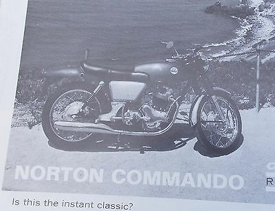 Vintage NORTON COMMMANDO Sales Brochure CYCLE WORLD Article Reprint Sept. 1968