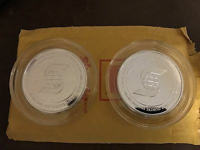 Lot of 2 Scotiabank 5 OZ Silver Round Bars + Free Scotiabank Gift Bags
