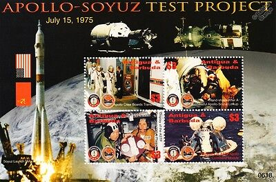 APOLLO SOYUZ Test Project Spacecraft Docking Space Stamp Sheet (2006 Antigua)