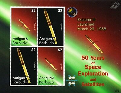 EXPLORER 3 Satellite / 50 Years of Space Exploration Stamp Sheet (2008 Antigua)
