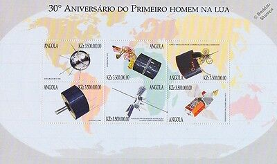 SPACE EXPLORATION Spacecraft & Satellites Stamp Sheet (1999 Angola)