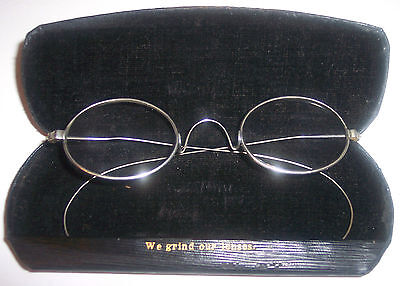 ANTIQUE PAIR 19thc EYEGLASSES SPECTACLES NICKLE PLATED SILVER COLOR SMALL
