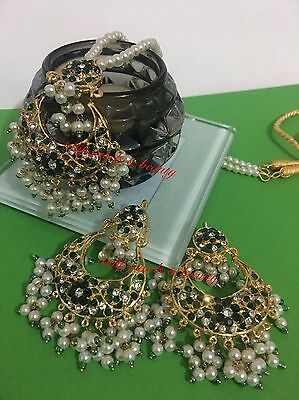 Indian/Pakistani weddings jewellery.bollywood chand bali Pendent Set Gold Plated
