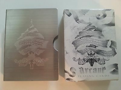 ORIGINAL 2009 Ellusionist Arcane WHITE Playing Cards & Stainless Steel Clip