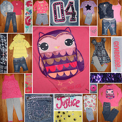 Girls Size 7/8 Spring Clothes Lot, Justice, Old Navy, Jeans, Shorts, Tops+