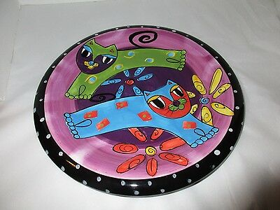 Cat Plate Milson And Louis Hand Painted Abstract Cats 10 Inches