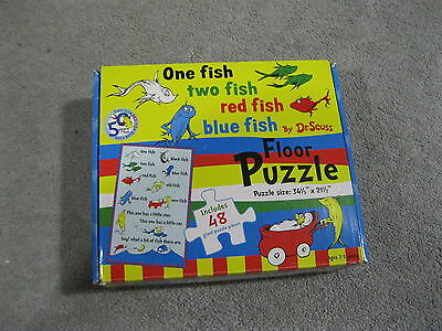 """Dr Seuss One Fish Two Fish Red Fish Blue Fish 48 Piece Floor Puzzle 34"""" By 21"""""""