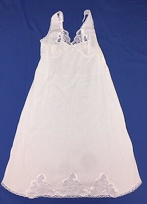 VELROSE Ladies Full Slip With Lace Cotton Size 38 White