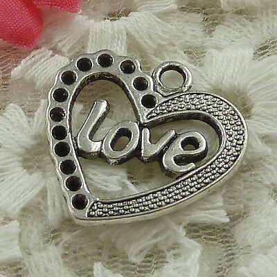 free ship 34 pieces Antique silver love heart charms 25x25mm #3696