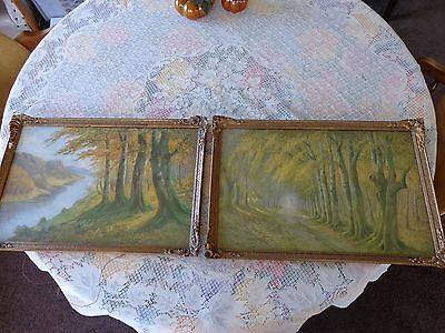 Vintage French Gold picture frame with original print and glass