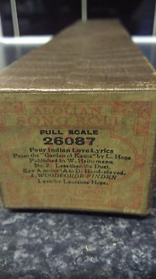 AEOLIAN SONG ROLL  Vintage BOXED Antique,Four Indian love lyrics