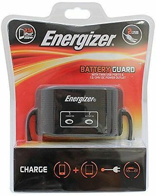 Energizer 50502 Battery Guard with Twin USB 12V Cigarette Lighter- New