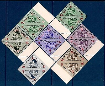 Afghanistan 1964 Red Cross/Crescent Health Curie/Physics Triangle Tete-Beche MNH