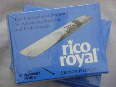 Rico Royal Eb Clarinet Reeds, Strength 3.0, 10-pack