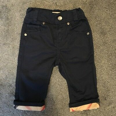 Burberry Baby Boys Navy Chino Trousers witth check turnups 6 months