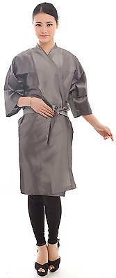 "Hairdressing Salon Client Gown Kimono Style- 43"" Long (Grey)"