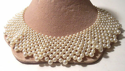 "vintage faux pearl collar choker bib sweater wedding necklace 2"" wide"