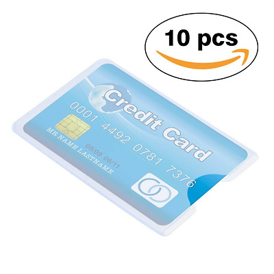 Idealeben 10Pcs Hard Clear Plastic Credit Card Protector Sleeves Contactless Car