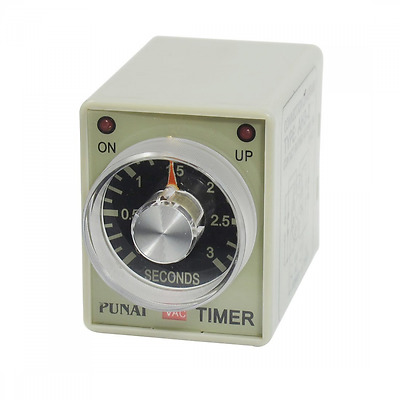 AH3-2 AC 220V 8 Pins DPDT 0-3 Seconds 3S Power on Delay Timer Time Relay