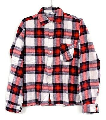 Vtg 1950'S 60'S Cotton Flannel Shirt Mens S Shadow Plaid Rockabilly Red Gray