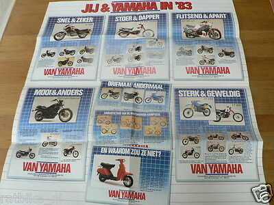 Y296 Yamaha Poster Brochure 1983 Models Dutch 6 Pages Folded Rd350Lc,xt600