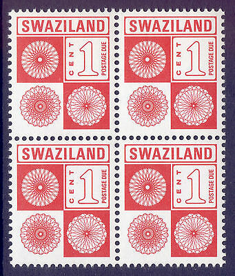 SWAZILAND 1978 stamps 1c Postage Due block of 4 um (NH) mint
