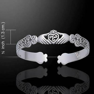 Irish Celtic Knotwork Claddagh Silver Bangle Bracelet - cast in sterling silver