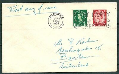 Gb 1952 Cover First Day Of Issue, London To Switzerland, Nice Stamps -Cag 141116