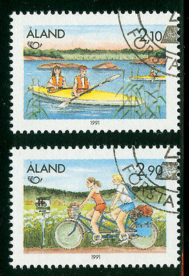 ALAND 1991 stamps Norden Tourism fine used (CTO) Cycling Canoeing from scandyss