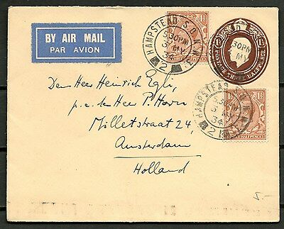 GB KGV 1934 POSTAL COVER 1.5d + 2 STAMPS HAMPSTEAD TO HOLLAND -CAG 141116