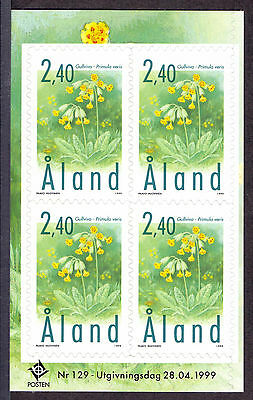 ALAND 1999 stamp Cowslips Flowers part pane of 4 um (NH) mint SA