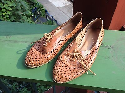 Vintage brown women leather flats - Size 7