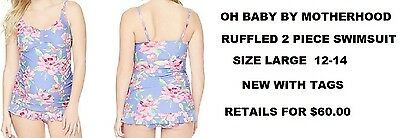 Oh Baby By Motherhood Maternity Ruffle Swimsuit Size Large 12-14 New With Tags