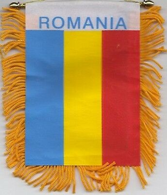 Romania Flag Hanging Car Pennant for Car Window or Rearview Mirror *