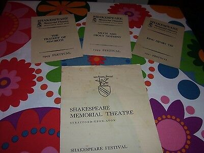 Lot of 4 Vintage Theatre Programmes Shakespeare Memorial Festival 1949 1951