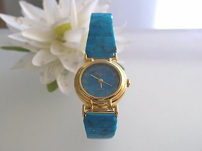 Vintage reconstructive Turquoise gemstone stainless steel stretch band watch