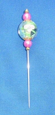 5. PIN DIVIDER   BEAUTIFUL 'FLOATING FLOWER' 14mm GLASS BEAD. NICE SHARP POINT.