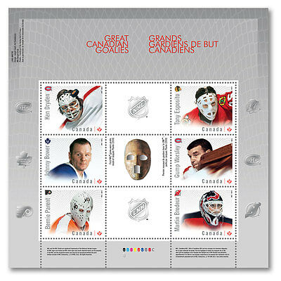 2015 Canada - 6 Nhl Hockey Canadian Goalies Stamps  Souvenir Sheet