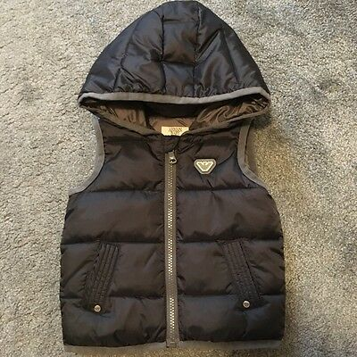 Armani Baby Boys Navy Blue Padded Bodywarmer/Gilet witth hood 9 months