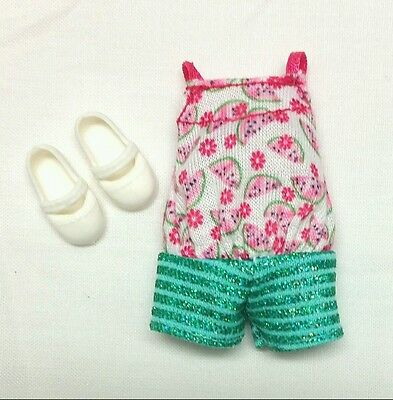 Barbie Chelsea Kelly doll clothes Watermelon Jumper Pink & Green + Shoes NEW