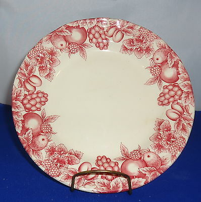 """Libbey Tableware Salad Plate Pink Pattern Red Fruits and Vegetables 7 3/8"""""""
