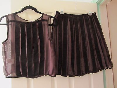Max Studio Special Edition 2 Piece Brown 100% Silk Skirt And Top Size Small