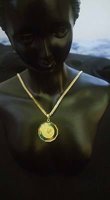 Authentic Solid 18k Yellow Gold Set Chain Necklace with Rooster Pendant