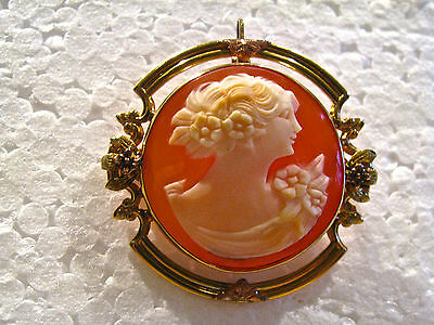 Antique Round 10Kt Yellow Gold Genuine Shell Cameo Pendant & Brooch 1922-1930