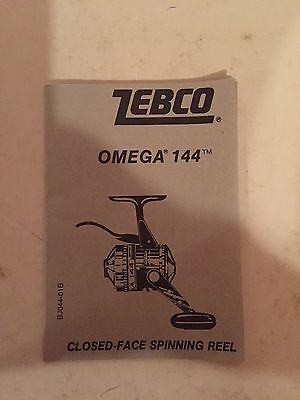 Vintage Zebco Omega 144 Closed Face Spinning Reel Instruction Booklet