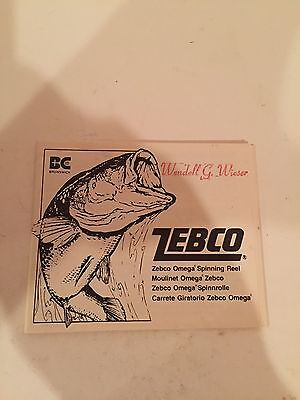 Vintage Zebco Omega Fishing Reel Instruction Booklet