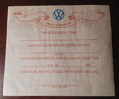 1970's Volkswagen Grease & Glamour Clinic Certificate Unused Mint