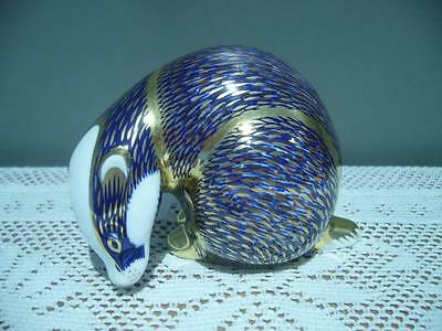 Royal Crown Derby England Blue & Gold Badger Paperweight - Vgc But Missing Stopp