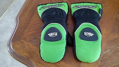 Vintage ARCTIC CAT-CAT PAWS Mitten Glove Leather& Nylon Black/Green Youth Medium